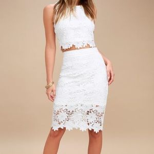 Lulus White Lace Two Piece Dress Look at me Wow